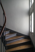 wooden, railing, staircase, stairs