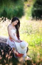 girl, grass, hair, person, rock, woman