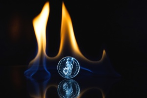 fire, flames, reflection, metal coin, dark