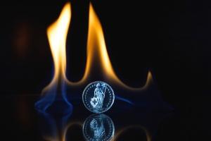 fire, flames, reflection, metal coin, dark