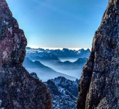 Rock, klipper, skyer, tåge, bjerg