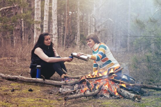 picnic, forest, women, wood, barbecue, campfire, outdoor, recreation
