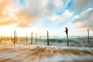 water, beach, clouds, fishing, wood