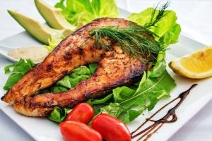 fish, food, lemon, avocado, diet, plate, lunch