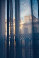 curtains, railing, building