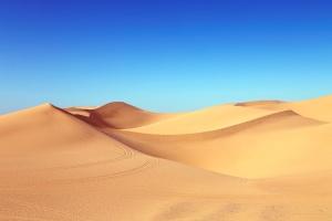 desierto, seco, duna de arena, cielo, luz del sol, la arena