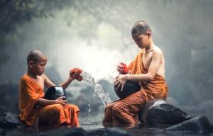 děti, buddhistických mnichů, tradiční, hochu, buddhismus