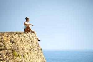 viaggi, vacanze, acqua, donna, giovane, cielo, orizzonte, cielo blu