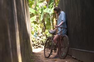 kvinna, ung, lady, livsstil, cykel