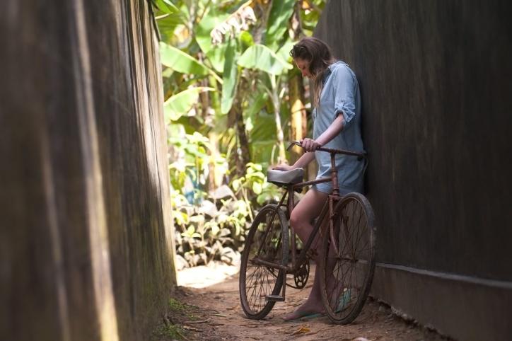 žena, mladih, žena, stil života, bicikala