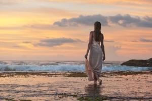 pretty girl, walking, water, beach, ocean, waves, woman, young