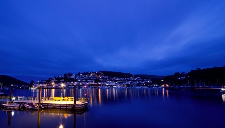 port, ville, nuit, mer, eau, lumières, nuit d'été, bateau