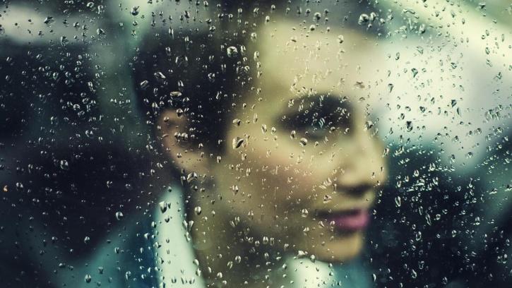 pioggia, finestra, persona, donna, bellezza, viso, pioggia, vetro