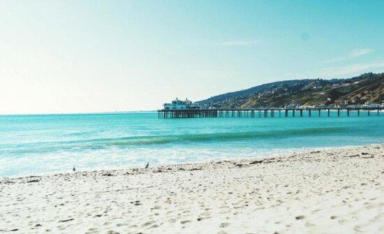 海、ビーチ、水、雲、海、砂、桟橋、アウトドア、夏