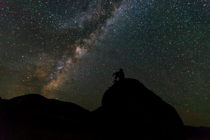 hemel, persoon, nacht, silhouet, Melkweg, sterren, kosmos