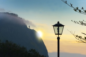 summer, Sun, sunrise, trees, street lamp, mountain