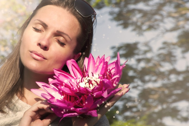 fleur de lotus, jolie femme, fille, visage, amour, beau, femme, fleurs