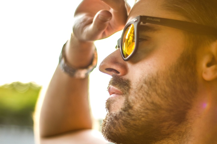 man, glasses, beard, face, summer, hand