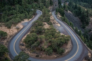 curve, forest, road, rocks, trees, nature