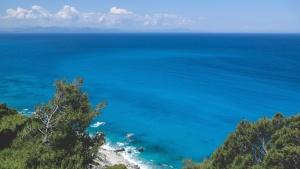 ø, natur, havet, stranden, kyst, idyllisk, horisonten