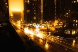 trasporto, strada, notte, veicoli, macchine, città, centro