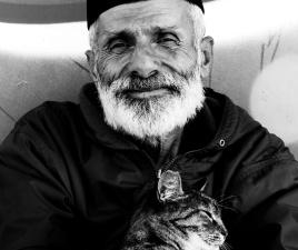 vieil homme, les mains, chat, vieux, fatigué, heureux, sourire