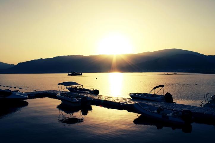 καλοκαίρι, Ανατολή, βάρκα, στη Μεσόγειο θάλασσα, πρωί, διακοπές, διακοπές, φύση