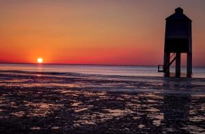 zalazak sunca, plaža, horizont, kuća, ljetne, izlazak sunca