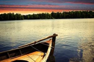 sunset, boat, twilight, lake, dusk, sunrise, day light, nature
