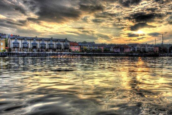 sunset, city, sea, buildings, sunrise