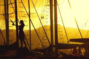 silhouette, ship, sail ship, summer, girl, bird, boat, flag, woman