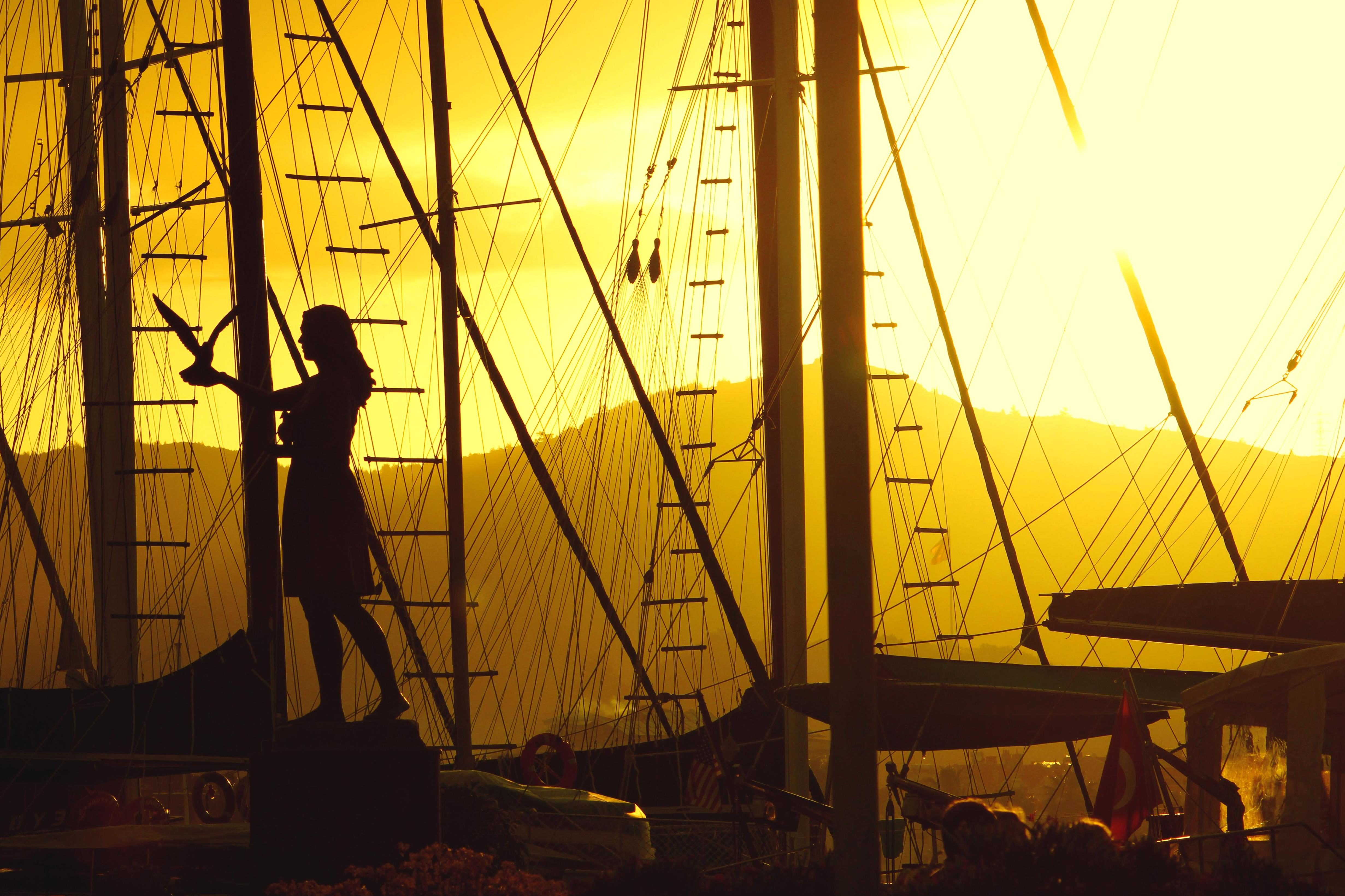 free picture silhouette ship sail ship summer girl