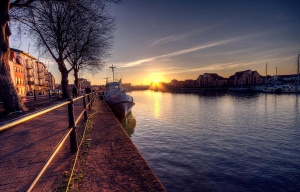 ηλιοβασίλεμα, δέντρο, καράβι, δρόμο ' οδόν, σιωπηλή
