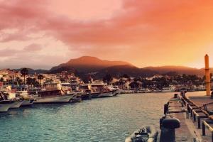 ηλιοβασίλεμα, πόλη, διακοπές, Ανατολή, πόλης, στο κέντρο της πόλης, γιοτ, καλοκαίρι, στη Μεσόγειο, λιμάνι