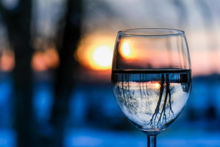 sunset, water, sun, winter, glass, reflection, landscape