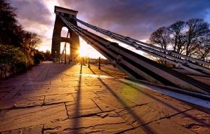 suspension bridge, sunset, sun, morning, traffic, roadside