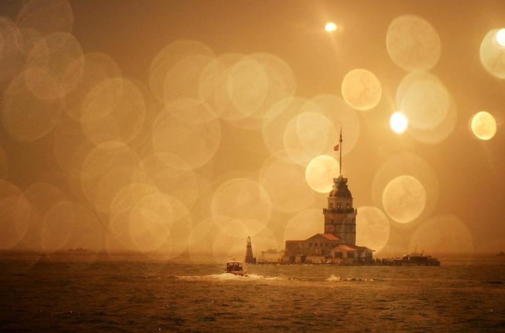 tårnet, Tyrkia, sjø, båt, reise, kveld