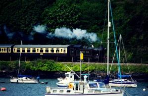 기차, 철도, 요트, 호수, 여름, 차량, 보트