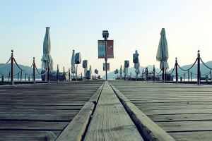 umbrella, cafeteria, outdoor, pier, tables, nature, landscape
