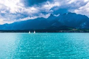 mountain, ocean, sea, boats, water, horizon, sky, clouds, summer