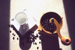 coffee beans, drink, coffee grinder, mug