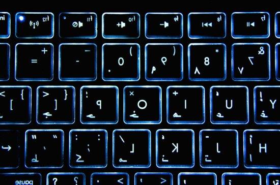 negro, espejo, carácter atrasado, teclado de computadora