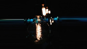 light bulb, dark, energy, electricity, filament, flame, science, technology