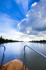 Boot, Bäume, Horizont, Schiff, Wasser, Holz, yatch, blauer Himmel, Erholung