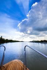 boat, trees, horizon, ship, water, wood, yatch, blue sky, recreation