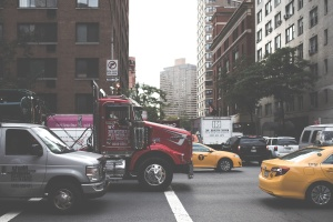 street, traffic, downtown, urban, truck, cars, city, road