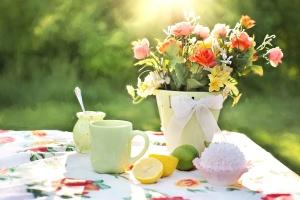 стрічки, Натюрморт, таблиці, кухоль, вазон, квіти, фрукти, лимон