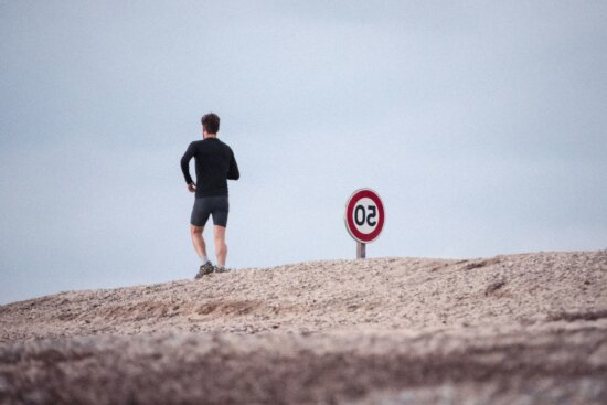man, road, exercise, jogging, person, sign