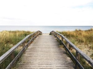 wooden bridge, sea, seashore, sky, water