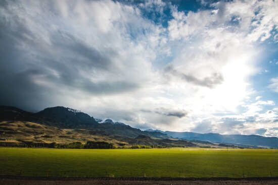 mountains, nature, sky, trail, trees, field, grass